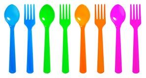 Kleurrijke lepel en vork Royalty-vrije Stock Foto