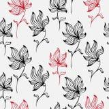 Kleurrijke leuke bloemenreeks met krabbelbloemen De lente of de zomerontwerp naadloos patroon Stock Afbeelding
