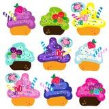 Kleurrijke leuke cupcakes vectorillustratie Stock Afbeelding