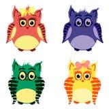 Kleurrijke leuke uilen Royalty-vrije Stock Afbeelding