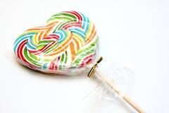 Kleurrijke lolly, hartvorm. Royalty-vrije Stock Fotografie