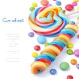 Kleurrijke lollys en wijsneuzen Stock Foto's