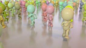 Kleurrijke lopende menigte stock footage