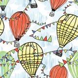 Kleurrijke luchtballon in de hemel met wolkenachtergrond stock illustratie