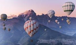 Kleurrijke luchtballonnen die over de berg vliegen Royalty-vrije Stock Foto's