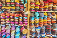 Kleurrijke Marokkaanse traditionele schoenen Royalty-vrije Stock Foto's