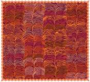 Kleurrijke mat met grunge gestreept golvend patroon en rand stock illustratie