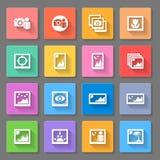 Kleurrijke Media Fotopictogrammen Stock Afbeelding