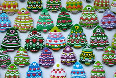 Kleurrijke Mengeling van Honey Cookies, gevormde Kerstboom Royalty-vrije Stock Fotografie