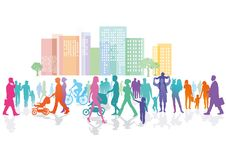 Kleurrijke menigte in stad vector illustratie