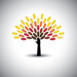 Kleurrijke mensenboom en hand - het conceptenvector van de ecolevensstijl Royalty-vrije Stock Afbeeldingen