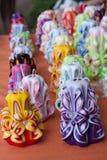 Kleurrijke met de hand gemaakte kaarsen Royalty-vrije Stock Foto's