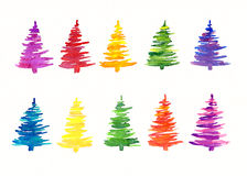 Kleurrijke met de hand geschilderde Kerstbomen Stock Afbeeldingen