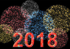 Kleurrijke 2018 met vuurwerk Royalty-vrije Stock Afbeelding