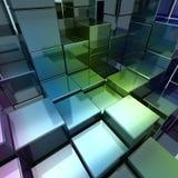 Kleurrijke metaalkubus Stock Foto's