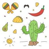 Kleurrijke Mexicaanse krabbel, hand-drawn reeks op witte achtergrond Stock Foto's