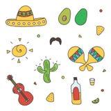 Kleurrijke Mexicaanse krabbel, hand-drawn reeks op witte achtergrond Royalty-vrije Stock Fotografie