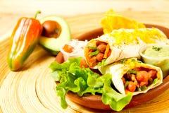 Kleurrijke Mexicaanse voedselplaat met taco's Stock Foto