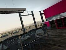 Kleurrijke moderne open plankeuken en eetkamer Royalty-vrije Stock Foto's
