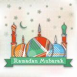 Kleurrijke Moskee voor Ramadan Mubarak Stock Afbeelding