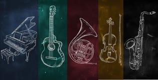 Kleurrijke muziek achtergrondtekeningsinstrumenten stock foto's