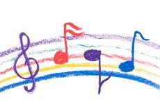 Kleurrijke muziekaantekening die op wit trekt Stock Fotografie
