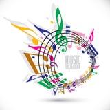 Kleurrijke muziekachtergrond met sleutel en nota's, muziekblad in ro Stock Foto