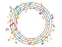 Kleurrijke muzieknota's Vectorillustratie Abstracte achtergrond Royalty-vrije Stock Afbeeldingen