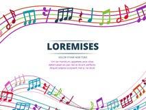 Kleurrijke muzieknoten en correcte golven vectorachtergrond royalty-vrije illustratie