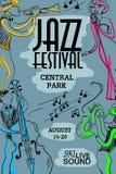 Kleurrijke Muzikale Affiche met Jazz Musicians royalty-vrije illustratie