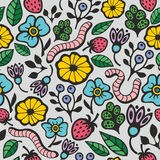 Kleurrijke naadloze achtergrond met flora en fauna in de tuin Royalty-vrije Stock Afbeeldingen