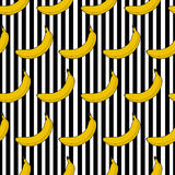 Kleurrijke naadloze de strepenachtergrond van de patroonbanaan Stock Afbeelding
