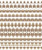 Kleurrijke Naadloze geplaatste Grenzenlijnen Etnische gestreepte patroonachtergrond in heldere kleuren Vector illustratie Royalty-vrije Stock Fotografie