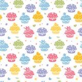 Kleurrijke naadloze het patroonachtergrond van de cupcakepartij Royalty-vrije Stock Afbeeldingen