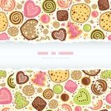 Kleurrijke naadloze het patroonachtergrond van het koekjes horizontale gescheurde kader Stock Fotografie