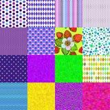 16 kleurrijke naadloze patronen Stock Fotografie