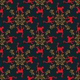 Kleurrijke naadloze patroonachtergrond met apen Symbool van het jaar van 2016 Rode aaptextuur met gouden bloemenornament Stock Fotografie