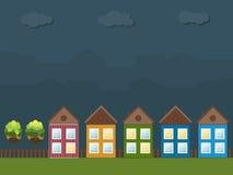 Kleurrijke Nachtcityscape, Real Estate vector illustratie