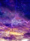 Kleurrijke nachthemel met boog van elektrisch stock illustratie