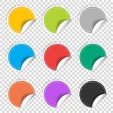 Kleurrijke negen lege geplaatste stickers Kentekeninzameling Vector illustratie Royalty-vrije Stock Foto