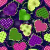 Kleurrijke neonharten Naadloos patroon Stock Afbeelding