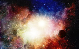 Kleurrijke Nevels en supernova met planeten Stock Fotografie
