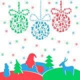 Kleurrijke nieuwe jaarachtergrond met ballen, Santa Claus Stock Afbeeldingen