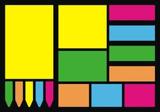 Kleurrijke notadocumenten Stock Foto