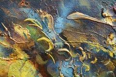 Kleurrijke olieverfschilderijachtergrond en blauw Royalty-vrije Stock Afbeeldingen