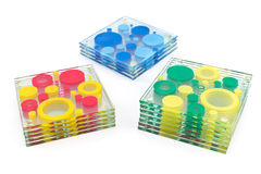 Kleurrijke onderleggers voor glazen voor glas Stock Fotografie