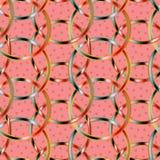 Kleurrijke onderling verbonden cirkels in een naadloze patroontegel over geweven roze achtergrond vector illustratie