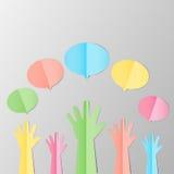 Kleurrijke Opgeheven handen omhoog met lege bel voor zich het aanmelden of F Stock Fotografie