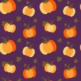 Kleurrijke oranje pompoenen op purpere achtergrond naadloze patroonillustratie Stock Fotografie