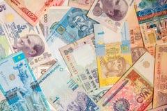 Kleurrijke oude het bankbiljetachtergrond van het Wereldpapiergeld Royalty-vrije Stock Afbeeldingen